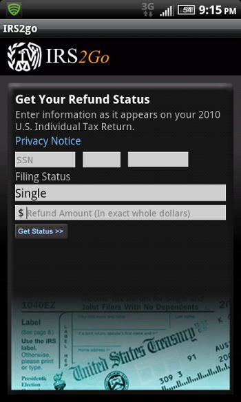 IRS Tax App for Smartphone